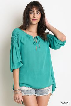 Into The Ocean Tunic, #Umgee  Umgee top. This cute new shirt has a 2/3 sleeve and bell front tie. Material is very light weight and roomy.  #aquatunic