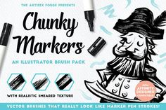 Chunky Markers - Illustrator Brushes by The Artifex Forge on @creativemarket