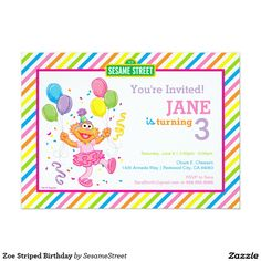 Sesame Street Ernie Striped Birthday Invitation Gender Neutral Red Green Yellow And Blue Stripes Ad