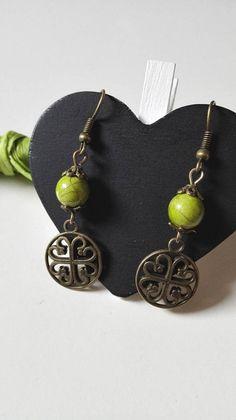 Boucles d'oreilles Outlander noeuds celtiques verts et