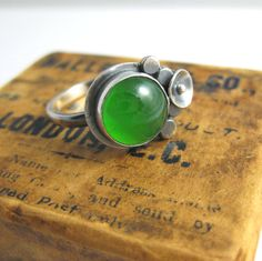 Glass Cabochon fused in the workshop for this ring.