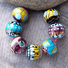 MruMru Handmade Lampwork Glass Bead set. Berry forest and Gnomes.  Sra.