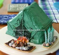 What fun for the cake decorating - tent camping cake Camping Cakes, Tent Camping, Camping Theme, Camping Gear, Fancy Cakes, Cute Cakes, Pink Cakes, Cool Birthday Cakes, Birthday Ideas