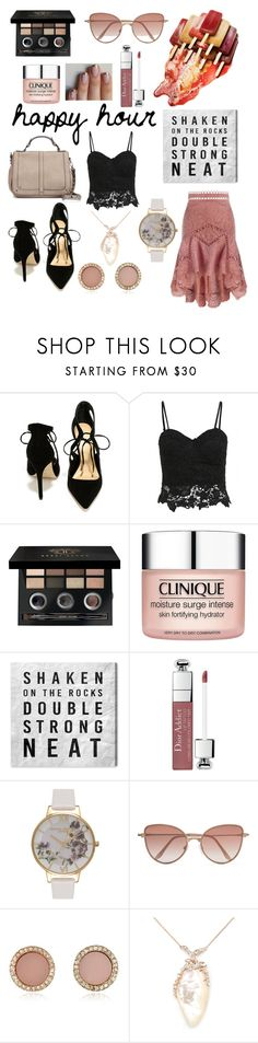 """""""happy hour"""" by nmnightmarex ❤ liked on Polyvore featuring Zimmermann, Daya, Bobbi Brown Cosmetics, Clinique, Oliver Gal Artist Co., Christian Dior, Olivia Burton, Cutler and Gross, Michael Kors and De Buman"""
