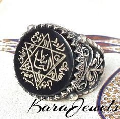 925 Sterling Silver Unique Islamic Talisman Ring with black Onyx handcrafted #KaraJewels #Islamic