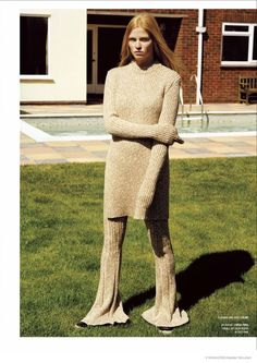 Lara Stone Keeps it Natural in Autumn Knitwear for V #91