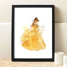 Beauty and Beast Belle Beast Print Disney Watercolor by artRuss