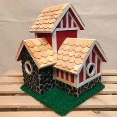 Castle Shaped Large Birdhouse Wood Elaborate Bird House Dragon Weathervane