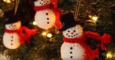 Crochet Snowman Ornament. Learn how to crochet these adorable snowmen ornaments for Christmas! Make a bunch to give away and be sure to make a few more to