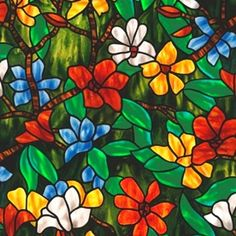 For God So Loved The World Stained Glass with Flowers Cotton Fabric
