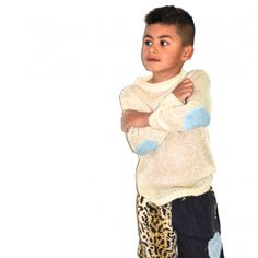 Kids knit jumper with elbow pads / cute kids clothing/fashion / beach surf street winter style / Tevita clothing