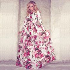New Autumn Women Maxi Dress Long Sleeve O-neck Red Vintage Flower Print Party Summer Long Dress Casual vestido longo Large size $24.26 => Save up to 60% and Free Shipping => Order Now! #fashion #woman #shop #diy www.greatdress.ne...