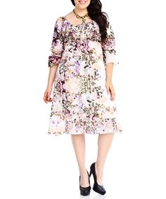 Look at this #zulilyfind! Blue Plate Cream & Purple Floral Peasant Dress - Plus by Blue Plate #zulilyfinds