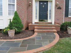 64 Ideas For Curved Patio Steps Walks Entrance Porch, Front Garden, Porch Steps, Front Door Steps, Concrete Front Porch, House With Porch, Building A Porch, Brick Steps, Front Yard