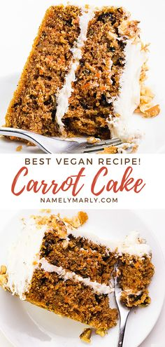 You want the best, most indulgent vegan carrot cake recipe possible. Right? This recipe does not disappoint! It's easy to make and delicious in every single bite!  #namelymarly #vegancarrotcake #carrotcake Best Cake Recipes, Best Vegan Recipes, Vegan Dessert Recipes, Vegan Breakfast Recipes, Raw Food Recipes, Sweet Recipes, Snack Recipes, Vegan Cream Cheese Frosting, Vegan Sandwich Recipes