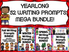 SAVE OVER 50% OFF OF INDIVIDUAL PRICES BY PURCHASING THIS MEGA BUNDLE!  SAVE ON EACH SEASONAL BUNDLE BY PURCHASING THIS MEGA BUNDLE, AS WELL!THE FOLLOWING SEASONAL BUNDLES OF PROMPTS, GRAPHIC ORGANIZERS, AND EDITING CHECKLISTS ARE INCLUDED:1) Fall Writing Prompts HUGE BUNDLE2) Winter Writing Prompts HUGE BUNDLE 3) Spring Writing Prompts HUGE BUNDLE4) Summer Writing BUNDLESIMILAR ITEMS NOT IN BUNDLE:Election Writing BUNDLEVeterans Day Writing