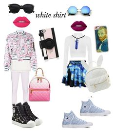 """""""white shirt2"""" by fashionforwardfaith ❤ liked on Polyvore featuring WearAll, Converse, Casetify, cutekawaii, Lime Crime, Moschino, 7 For All Mankind, Finders Keepers, Kate Spade and WardrobeStaples"""
