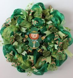 St. Patrick's Day Green Deco Mesh Wreath with by MurryLaneMemories