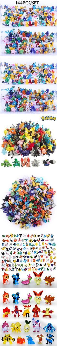 144Pcs / Lot New Anime Pokemon Toys 2-3cm Mini Cartoon PVC Action Kids Toys Action Figure Birthday Christmas Gift