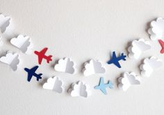 Paper clouds + airplanes as an online class backdrop. Planes Birthday, Planes Party, Boy Birthday, Airplane Crafts, Airplane Decor, Paper Airplane Party, Airplane Banner, Diy And Crafts, Crafts For Kids