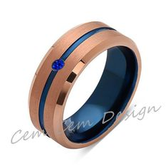 8mm,Blue Sapphire,Brushed Rose Gold,Blue,Tungsten Ring,Mens Wedding Band,Blue Mens Ring