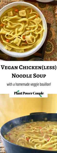 This Vegan Chicken Noodle Soup recipe is our favorite way to treat a winter cold. It's so soothing and is super quick & easy to make. The homemade bouillon comes together quickly i the blender too and has that dead-on chicken-y flavor we all grew up loving! | plantpowercouple.com