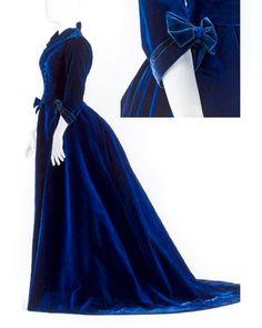 Silk velvet dress worn by Countess Wilhelmina von Hallwyl, from Au Bon Marche ca. 1870s  Hallwyl Museum