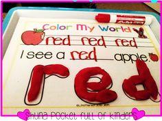 Pocket Full of Kinders!: FREE color word playdough mats