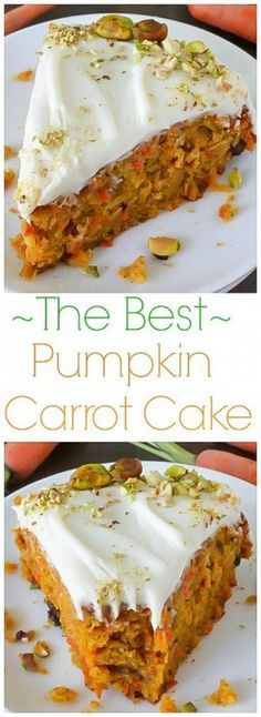 Cake with Cream Cheese Frosting Pumpkin Carrot Cake with Cream Cheese Frosting - This is THE BEST Carrot Cake I've ever had!Pumpkin Carrot Cake with Cream Cheese Frosting - This is THE BEST Carrot Cake I've ever had! Köstliche Desserts, Delicious Desserts, Dessert Recipes, Yummy Food, Dinner Recipes, Pumpkin Recipes, Fall Recipes, Food Cakes, Cupcake Cakes