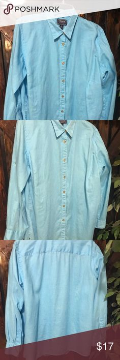 ➕⛄️ Chaps Classic Linen Blouse EUC  Gorgeous sky blue, 1X, Sleeve under arm to cuff 17 inches and adjustable, bust 24 inches flat, length shoulder to cuff 29 inches, shoulder 17 inches. Please review all measurements prior to purchase.  🤗 Chaps Classics Tops Blouses