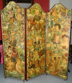 antique decoupage screens panel scrap decoupage dressing screen