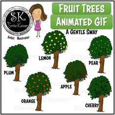 Fruit Trees Clip Art, Animated GIF Trees, Forest Trees by Smita Keisser Teacher Logo, Silhouette Clip Art, Cork Art, Text Overlay, Paper Background, Fruit Trees, Animated Gif, My Design, How To Draw Hands