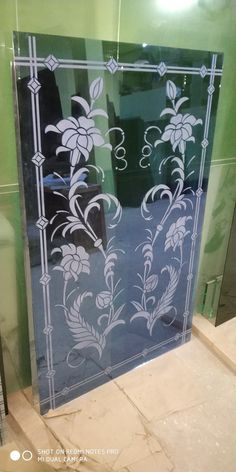 Glass Etching Designs, Glass Etching Stencils, Glass Painting Designs, Paint Designs, Glass Partition Designs, Window Glass Design, Etched Glass Door, Frosted Glass Door, Glass Closet Doors