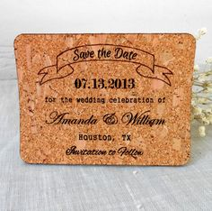 cork save the dates - wine themed wedding ideas: