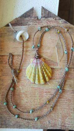 Sunrise Shell Necklace Surf Tumbled Casual Beach Day Bright YELLOW Pink Unique Aloha Hawaii Wire Wrap Beaded Different Casual Beach Ocean Ocean Jewelry, Seashell Jewelry, Seashell Necklace, Seashell Crafts, Shell Necklaces, Beach Jewelry, Diy Necklace, Shell Bracelet, Shell Schmuck