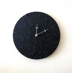 Minimalist Black Wall Clock Home and Living Unique by Shannybeebo Unique Wall Clocks, Wood Clocks, Minimalist Wall Clocks, Black Clocks, Quartz Clock Movements, Wall Clock Design, Clock Decor, Recycled Art, Home Decor Items