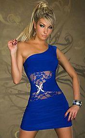 YRM une épaule Robe moulante Slim (Bleu)