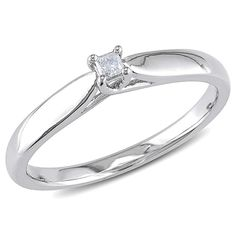 0.05Cttw Sterling Silver Princess-cut Simulated Diamond Solitaire Promise Ring #affinityengagementjewels #Solitaire