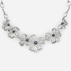 Sterling Silver Massive Flowers Necklace featuring Black Pearls by ZanGGarts.