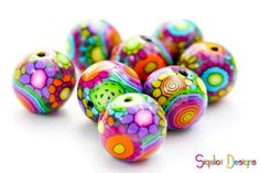 Items similar to Disco Ball - 4 Handmade polymer clay rainbow beads - Round on Etsy Polymer Clay Canes, Polymer Clay Beads, Handmade Polymer Clay, Lampwork Beads, Biscuit, Disco Ball, Handmade Beads, Clay Tutorials, Clay Crafts