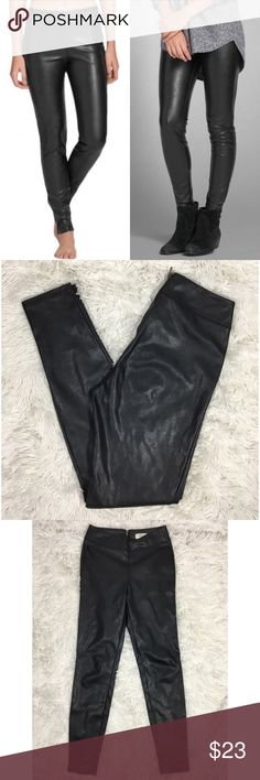 Abercrombie and Fitch 00 Faux Leather Leggings Abercrombie and Fitch Size 00 Black faux leather leggings skinny pants EEUC- no signs of wear. Like new  No trades Abercrombie & Fitch Pants Leggings