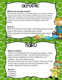 Summer Poetry Unit-12 types of poems with definitions, how-to directions, examples, and templates for writing. Includes acrostic, haiku, lune, cinquain, diamante, concrete, simile, five senses, couplet, bio poem, by the numbers, and free verse, as well as reading response printables. Perfect for the last few weeks of school!