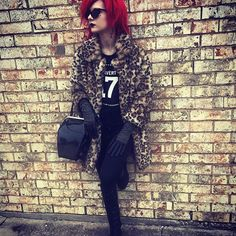 Top 100 bright red hair photos Leopard during the daylight hours.🐆 #fakefur #fauxfur #alternative #crimpedhair #style #redhead #redhair #brightredhair #splathead #leopardcoat #ootd #splatlusciousraspberries #overtone #overtoneextremered