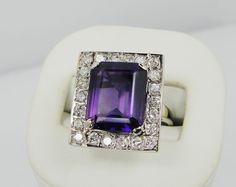 ART DECO AMETHYST DIAMOND 14k White Gold Ring, Vintage, $1550 in 1984 Appraisal