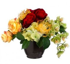 Small Colorful Silk Flower Arrangment with Roses and Hydrangea ARWF1341