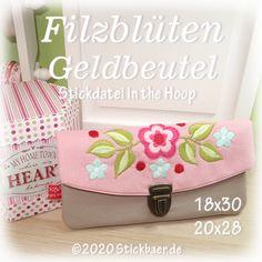 Der Stickbär | Filzblüten Geldbeutel | Stickmuster mit Herz