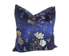 Royal Blue Decorative Throw Pillows, Luxury Cushion Cover, Chinese Brocade Flowers and Butterflies, NEW Home Decor 20x20 via Etsy