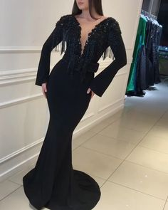 black evening dresses long sleeve deep v neck tassels beaded modest luxury formal dresses Mermaid Dresses, Bridal Dresses, Prom Dresses, Formal Dresses, Mermaid Skirt, Black Evening Dresses, Evening Gowns, Robes D'occasion, New Arrival Dress