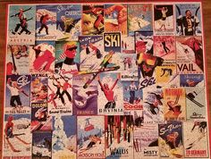 Vintage ski puzzle poster.  Thinking about cooler times #whitemountainpuzzles