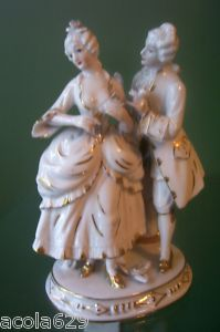 19th Century Antique Staffordshire Porcelain French Courting Couple Figurine